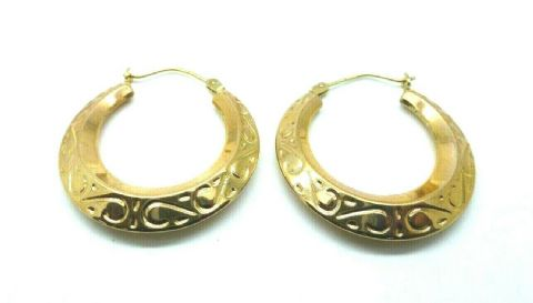 9ct Yellow Gold Vintage Victorian Style Embossed  Creole Hoop Earrings
